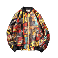 2019 Autumn Winter Printed Puzzle Men's Fashion Coat Hip Hop Top Large Size Baseball Jacket Japanese Streetwear Leisure Youth