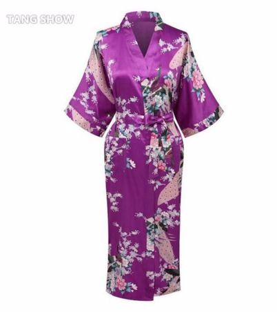 Pink Chinese Women Silk Long Robe Nightgown V Neck Kimono Bath Gown ... 0f22c84d2