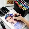 30-80 cores ponta dupla caneta marcador de arte conjunto highlighters pintura desenho material escolar papelaria caneta de pintura de escritório 04363