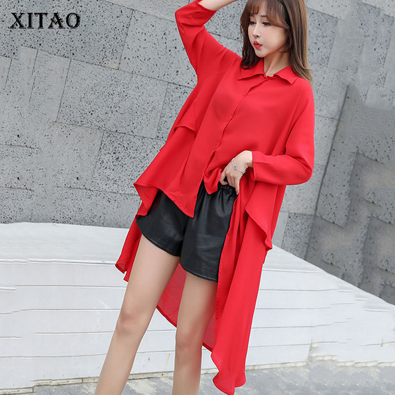 XITAO Loose Women Korea Fashion 2019 Spring Turn down Collar Full Sleeve Shirt Female Solid
