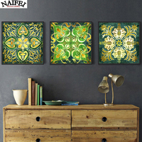 Emerald Indian national pattern retro 3 piece 5d Diamond Painting,diamond Embroidery Pattern flower,Cross Stitch home decoration