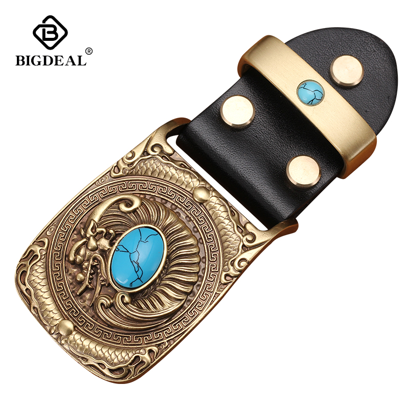 New Fashion Casual Men's Leather Belts Buckle Male Top Quality Eagle Totem Copper Smooth Buckle Retro Belt For Men's Jeans