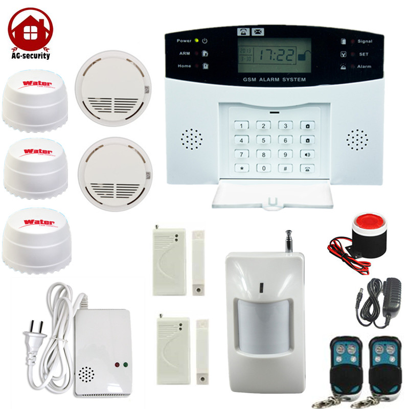 AG Security Wireless GSM Alarm Home Burglar System  433Mhz With Flooding Water Leak Detector Smoke Sensor Gas Detectors yongkang wireless 433mhz 1527 200k smoke detector for gsm alarm system