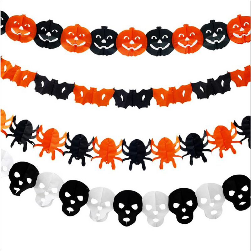 colorful paper garland for halloween party decoration. Black Bedroom Furniture Sets. Home Design Ideas