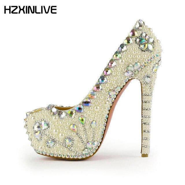 0268102e162a9 GGOB 2018 Luxury Pearl Wedding Shoes Woman high heels pumps 16cm Genuine  Leather Sheepskin platform heels Designer Bridal Shoes