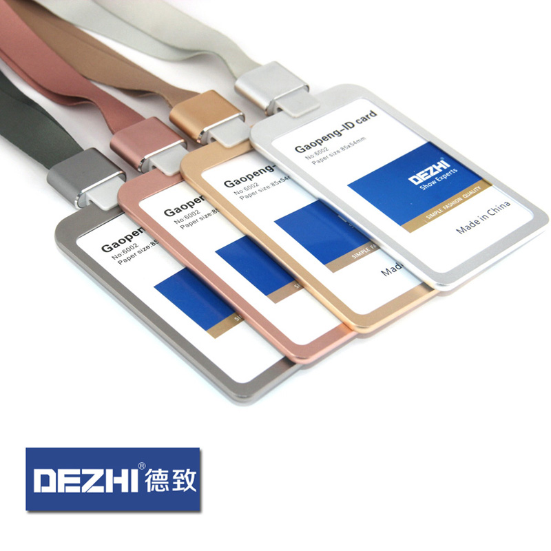 DEZHI Aluminum Alloy Business ID Card Case With Lanyard, Customize Logo Metal Badge Holder With 1.5cm Neck Strap,Apple Colors