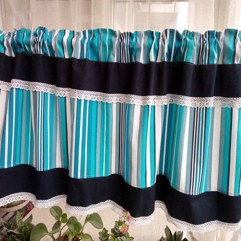 Kitchen Partition Curtains: Korean Style Blue Stripe Splice Lace Kitchen Curtain