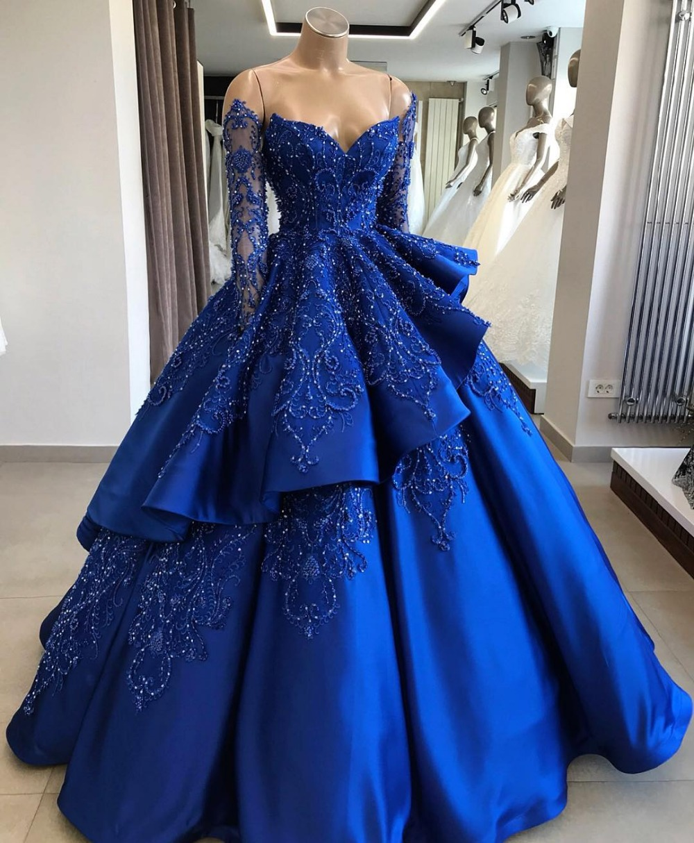2019 New Listing Blue Evening Dress Long Sleeves Lace Beaded Floor Length Evening Dresses Formal Party Gowns Vestido