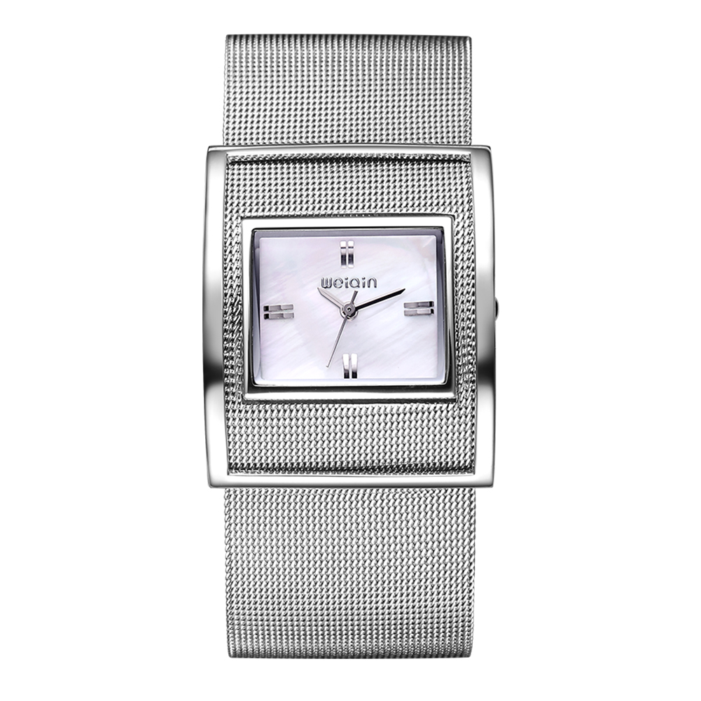 все цены на  WEIQIN New Famous Brand Silver Big Dail Quartz Watch Women Metal Mesh Full Steel Dress Watches Relogio Feminino Clock Hour 2016  онлайн