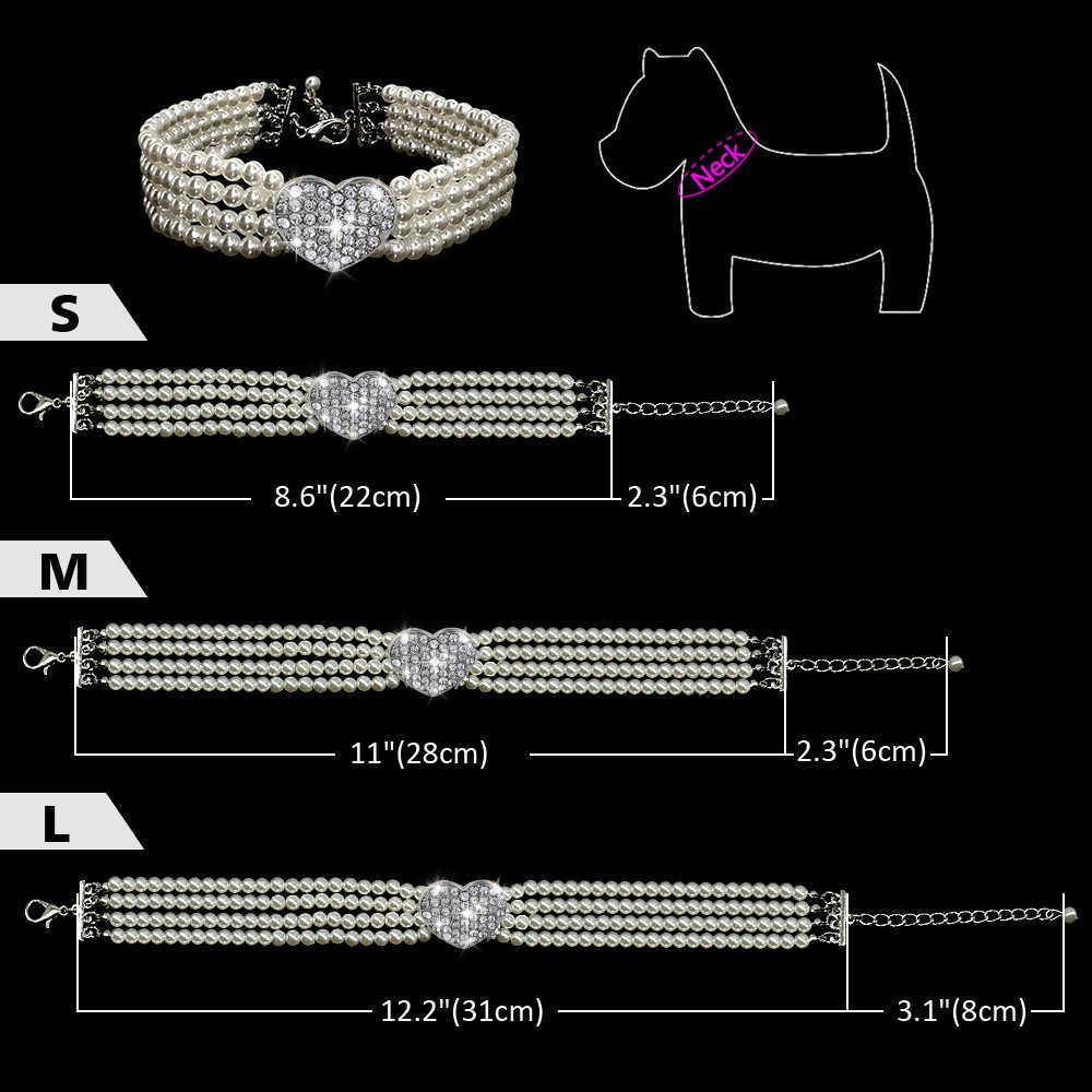 Perle épissure strass collier de chien produits pour animaux de compagnie S/M/L 20/25/30CM adapté pour petit moyen chien accessoires pour animaux de compagnie collier chien D20
