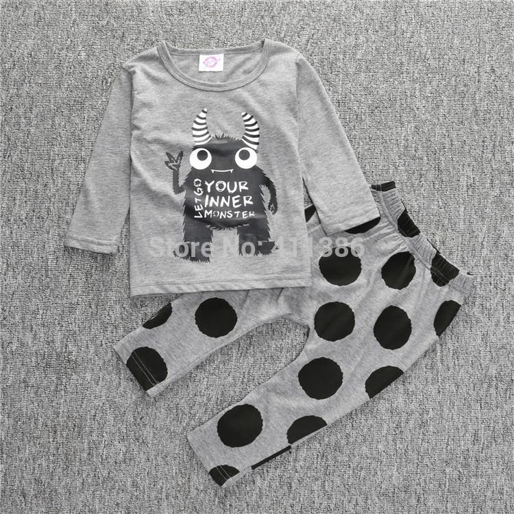 ST189 2017 Nowa dziewczyna przyjazdu i chłopców ubrania ustawić długi rękaw + Spodnie sowa wzór zestaw noworodka ubrania dla dzieci garnitur dzieci odzież 35