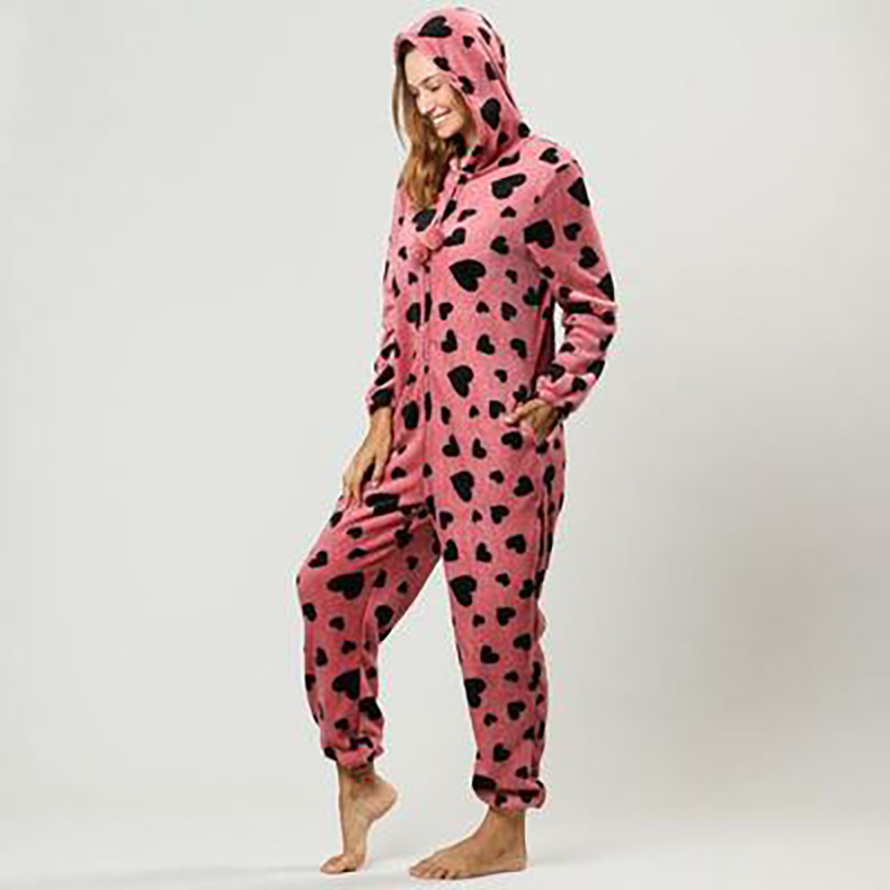 Centuryestar Winter Christmas Onesie for Adults Women One Piece Plus Pajamas Animal Cow Heart Print Flannel Hooded Zipper Pijama