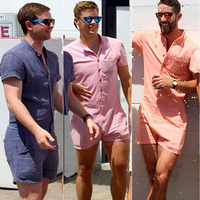 2017 Summer Fashion Mens Rompers Short Sleeve Male Cotton Stretch Slim Fit Jumpsuit Cool Cargo Short