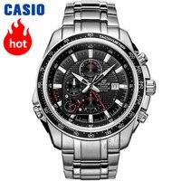 Часы Casio Edifice Мужские кварцевые спортивные часы кожаные ремешок стальной пояс модные городской указатель часы EF 545