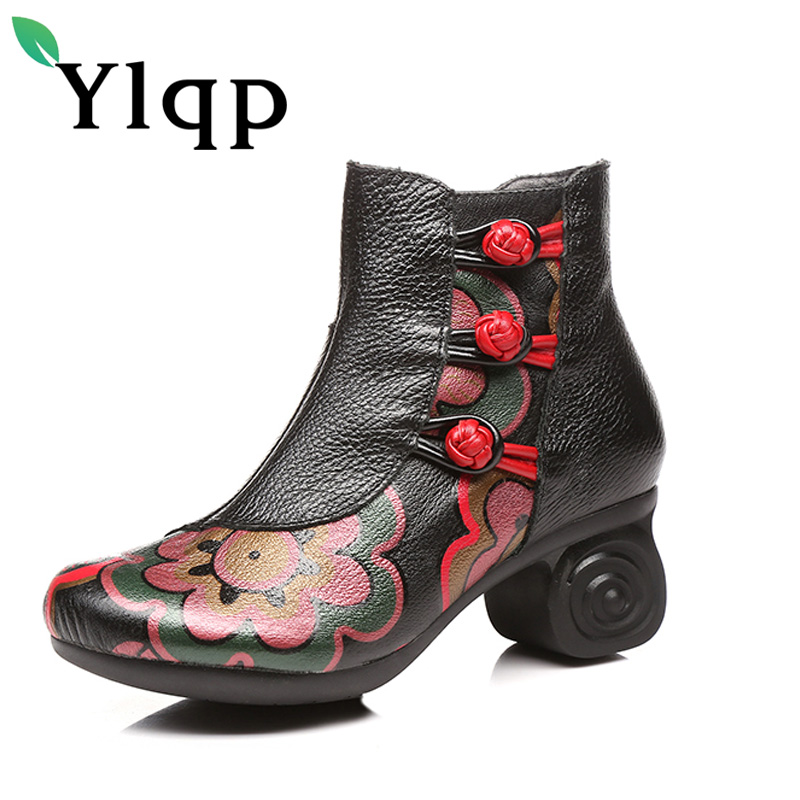 Ylqp Hot Sale Winter Woman Boots Genuine Leather Ankle Shoes Vintage Casual Shoes Brand Design Retro Handmade Women Boots Ladies 2017 new autumn winter british retro men shoes zipper leather breathable sneaker fashion boots men casual shoes handmade