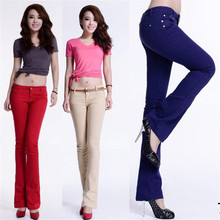 new cotton Pure color colour Elastic force Bell-bottoms trousers high waist jeans