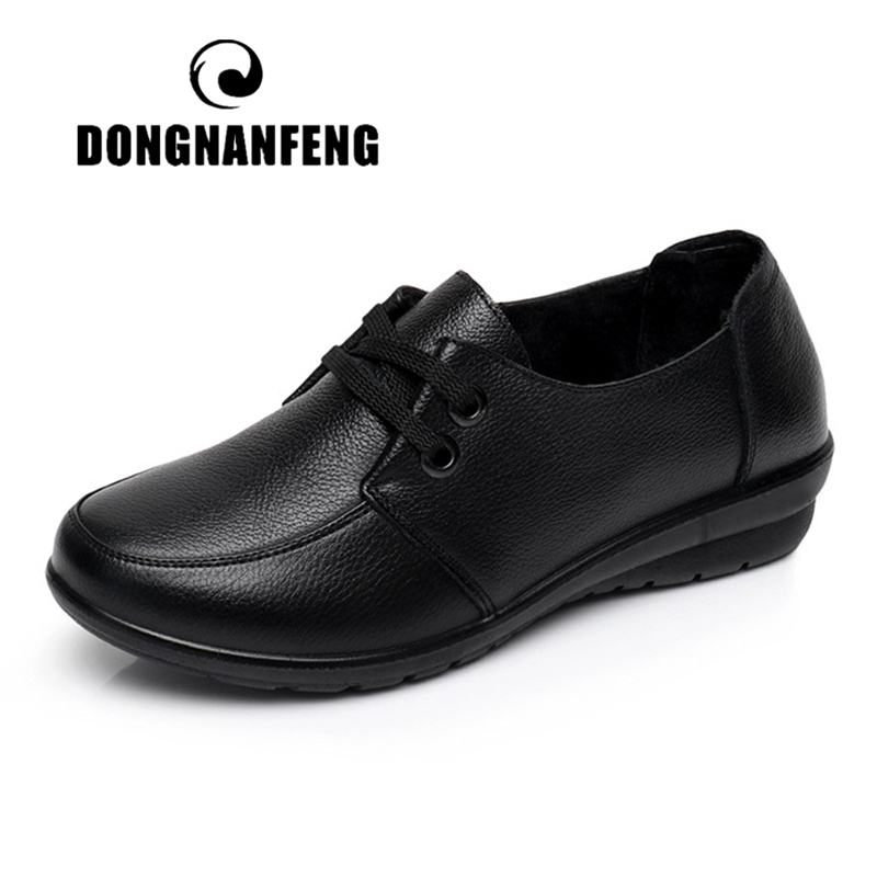 DONGNANFENG Women Old Female Ladies Mother Flats Shoes loafers Cow Genuine Leather Lace Up Non Slip Soft Casual 35 41 HD 226Womens Flats   -