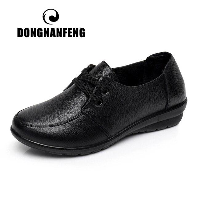 Dongnanfeng Vrouwen Oude Vrouwelijke Dames Moeder Flats Schoenen Instappers Koe Lederen Lace Up Antislip Soft Casual 35 41 HD 226
