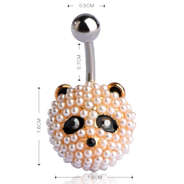 Gold Color Panda Belly Button Ring