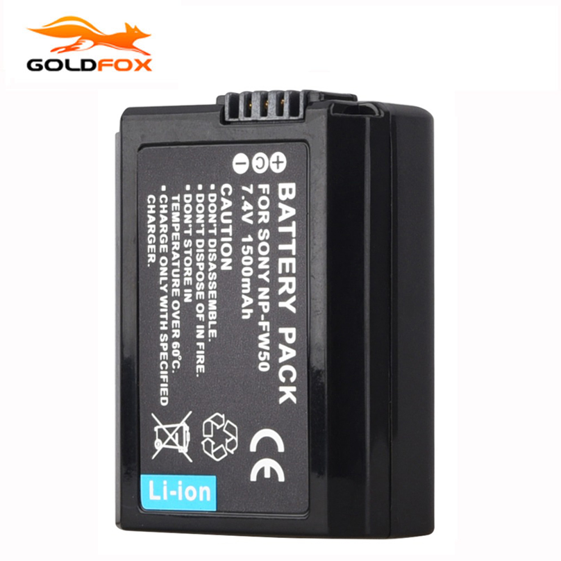 Goldfox 1500mAh NP FW50 NPFW50 NP-FW50 Camera battery For Sony Alpha 7 a7 7R a7R 7S a7S a3000 a5000 a6000 NEX-5N 5C A55 Battery np fw50 8000mah camera external power for sony nex 5r nex 7 a55 a7r a7m2 a6500 nex 6 smartphone external mobile power battery