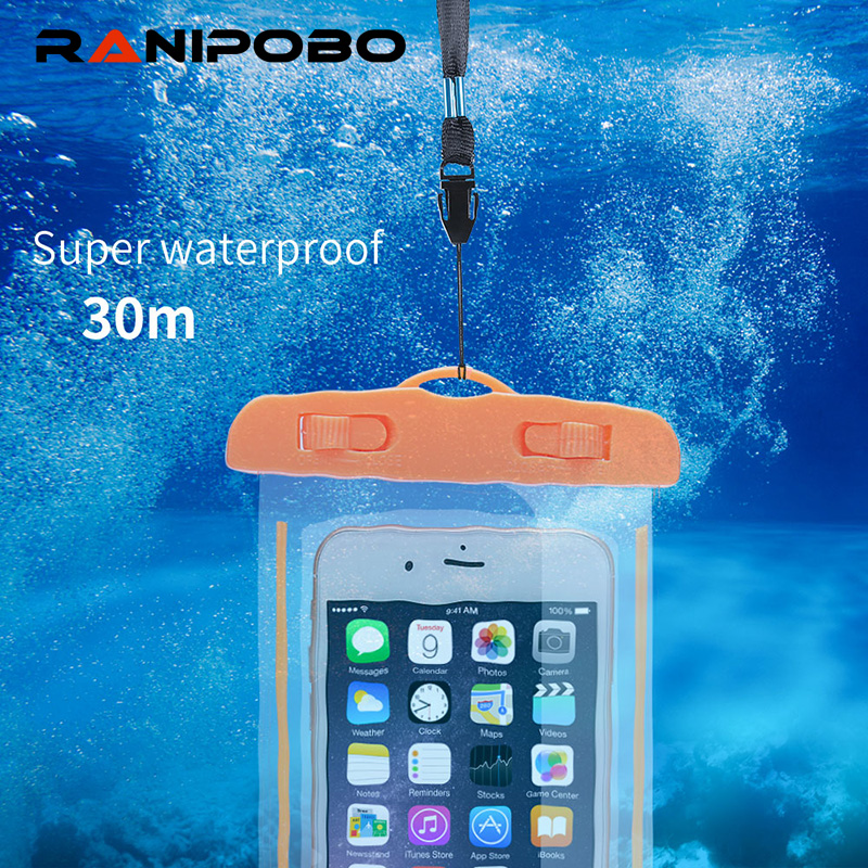 "For Universal 4.8""-6.0"" Waterproof Bag Case For iPhone 6 7 Plus Luminous Transparent Dry Pouch For Samsung Huawei Oppo Phones"