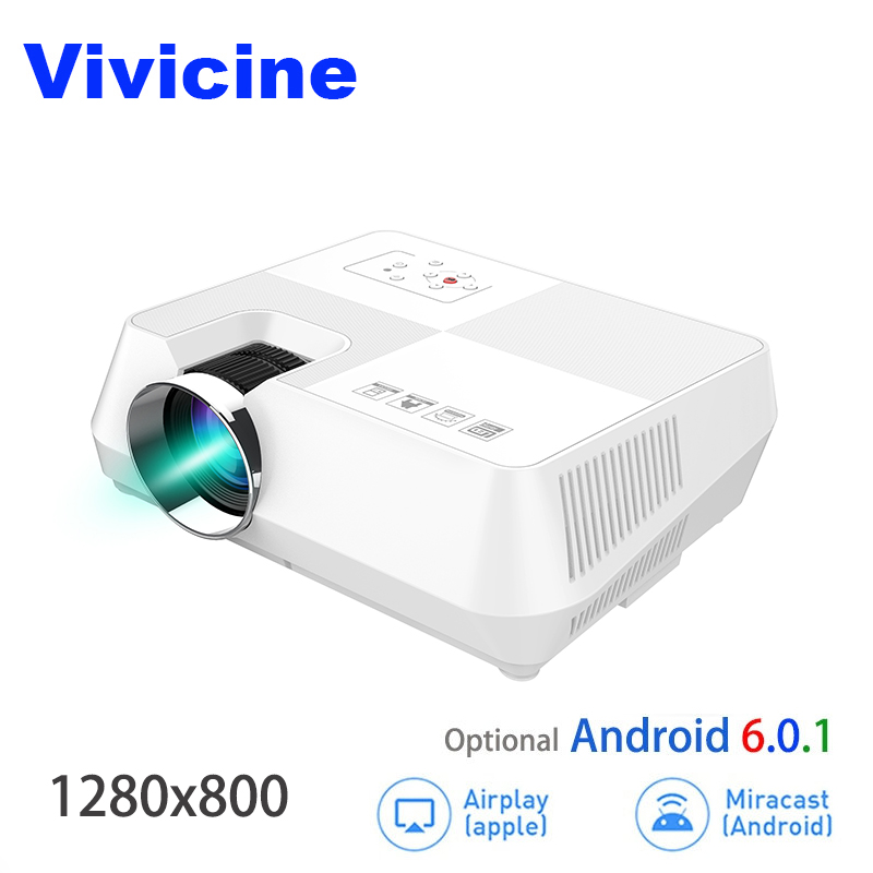 VIVICINE Android HD Projector 1280x800 Pixels Wireless WIFI Miracast Airplay Bluetooth Optional Portable 1080p TV PC Home Beamer