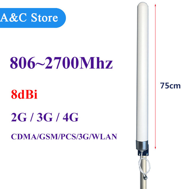 2g 3g 4g antena de alta ganancia 8dBi 806-2700 MHz Antena Omni de Fibra de vidrio para GSM CDMA PCS 3G WLAN 4G lte repetidor de señal de refuerzo