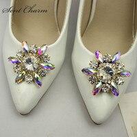 1Piar Rhinestone Shoe Buckle Full Crystal Shoe Clips Accessories Fashion Bridal Wedding Shoes Decoration