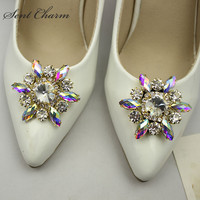 1Piar Rhinestone Shoe Buckle Full Crystal Shoe Clips Accessories Fashion Bridal Wedding Shoes Decoration
