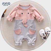 Christmas Baby Clothes Newborn Baby Girl Romper Pink Color Cartoon Animal Elephant Design Autumn Winter Baby