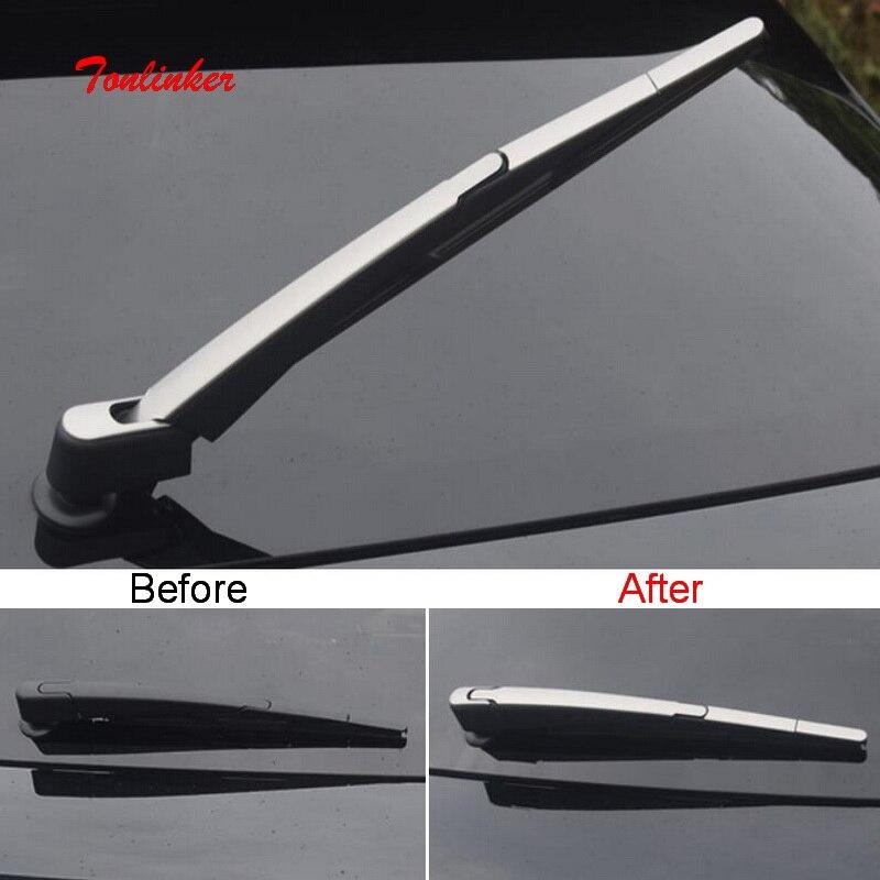 Tonlinker 4 pcs limpador Decoração Tampa Traseira Do Carro etiqueta para CITROEN DEESSE DS7 2018-19 Estilo Do Carro de aço Inoxidável cobertura Adesivos