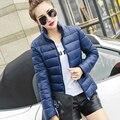 Chaqueta de invierno mujeres 2016 moda delgado chaqueta corta de algodón acolchado parka wadded prendas de vestir exteriores femenina abrigo de invierno de las mujeres