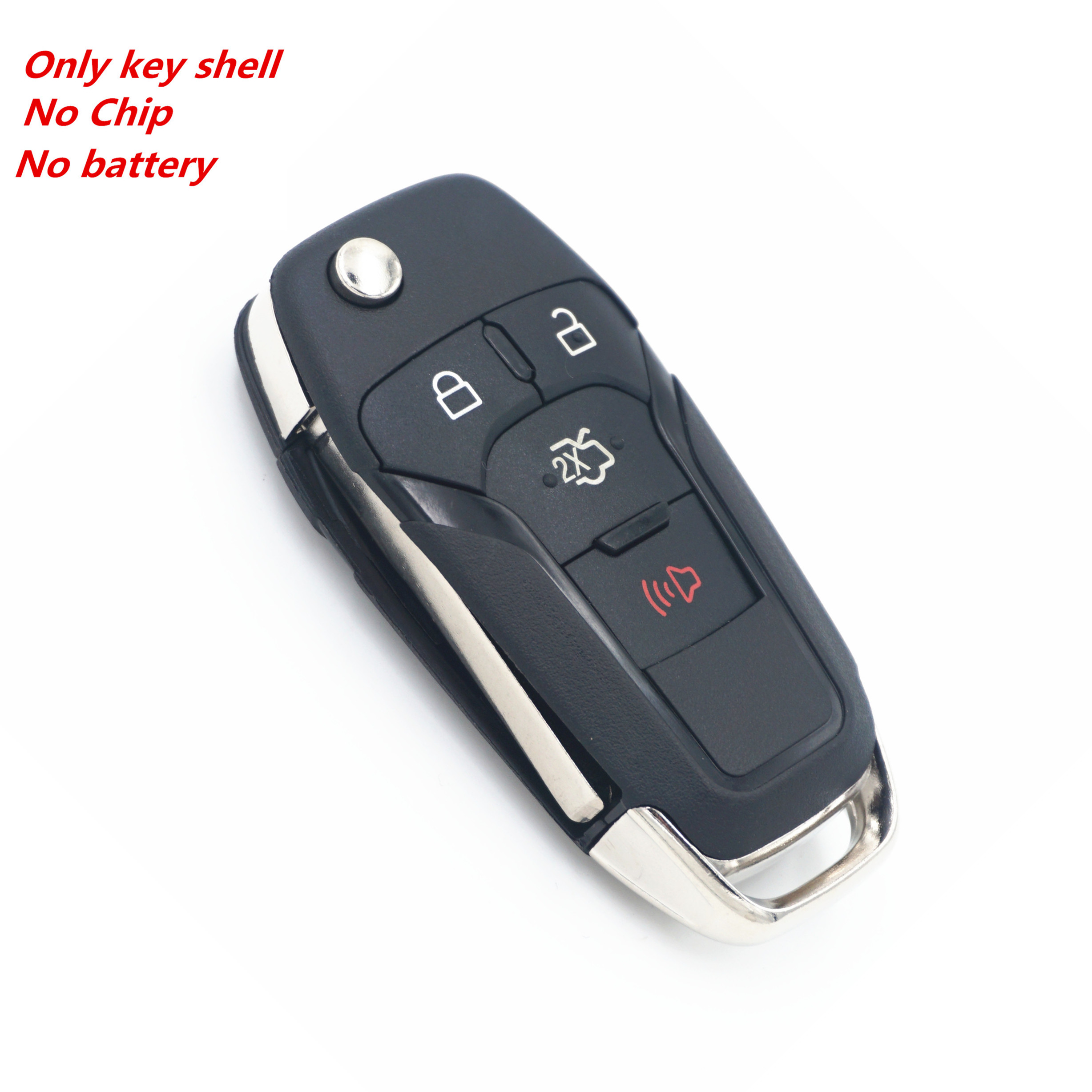 WFMJ 4 Buttons Keyless Remote Flip Floding Smart <font><b>Key</b></font> Case Chain Shell For 2013 2014 <font><b>2015</b></font> 2016 <font><b>Ford</b></font> <font><b>Fusion</b></font> image