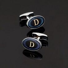 XK156 High quality men's shirts Cufflinks ellipse letter D Cufflinks brand of men's clothing accessories glazed craft style