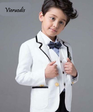 White Cute Kids Formal Wedding Groom Tuxedos Flower Boys Children Party Suits