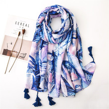 2019 summer floral printing women scarf Hawaiian style spring ladies shawl cotton infinity pashmina beach scarf ponchos capes цена
