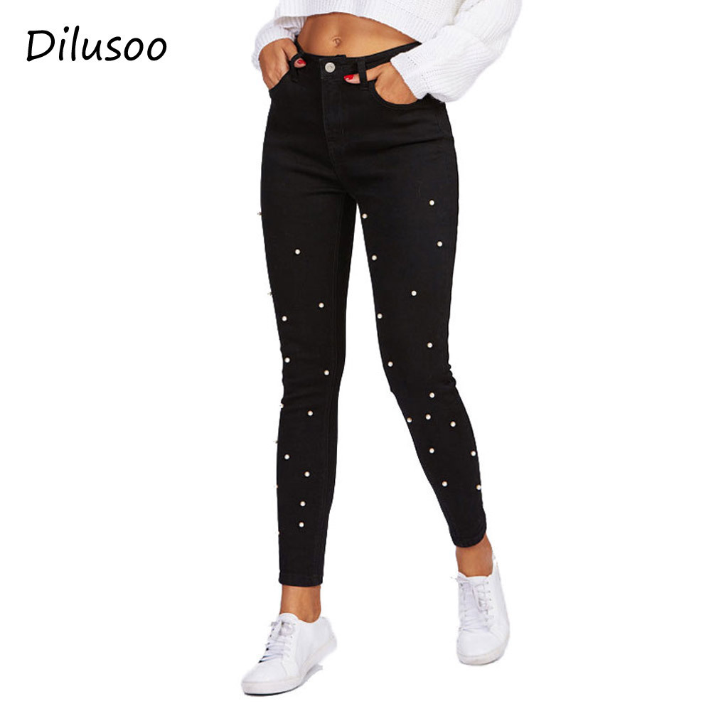 Dilusoo Women Pencil Pants Denim   Jeans   Autumn Casual Embroidered Flares Black Pearl Trousers Elastic Pants High Waist   Jeans   2018