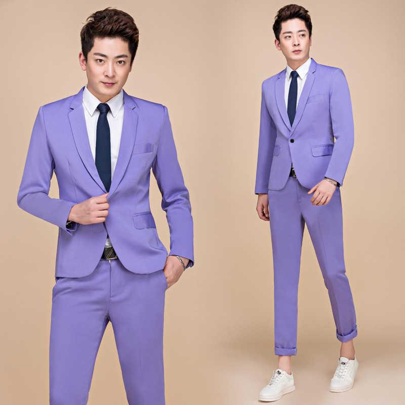 Мужские костюмы розового цвета из 2 предметов (пиджак + брюки) 2019, брендовые облегающие свадебные костюмы жениха с одной пуговицей и смокингом с брюками Terno Masculino