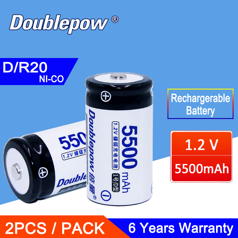 2Pcs 1.2V 5500mAh R20 Battery Actual Capacity D/R20 Size ...
