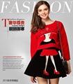 2015 moda otoño invierno las mujeres de Terciopelo Bordado Blusa + Mini Skirt Suit conjuntos de las mujeres
