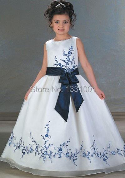 Vestido blanco con azul para nina