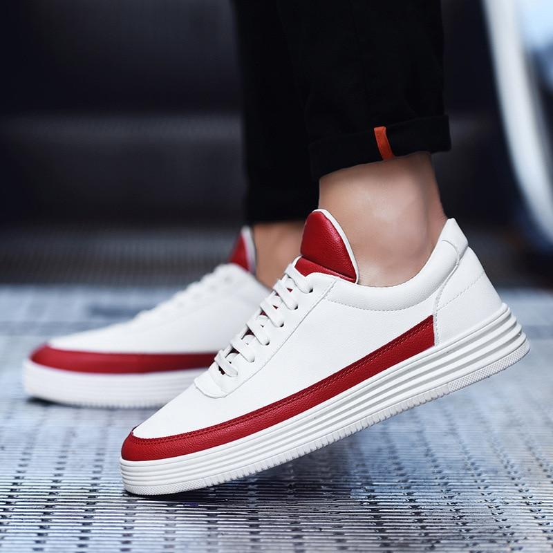 Hombre Zapatos Moda Cuero De Zapatillas Negro Marca And Los A015 Hombres Suave blanco Red Para white Alta Negro Blancos Calidad xIXw0tq