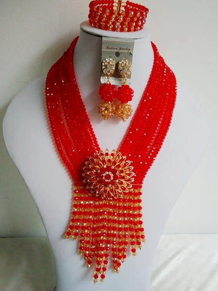 Red Gold Crystal Women Costume Bridal Jewelry Set Nigerian African Wedding Beads Jewelry Set Free Shipping ABF653