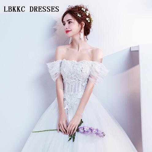 Robes De mariée blanches col bateau élégant ligne Vestido De Noiva Sereia Robe De mariée 2018 Robe De mariée