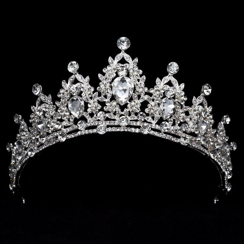 Rhinestone Crown Headbands Hair-Accessories Tiaras Crystal Bride Wedding Queen Large