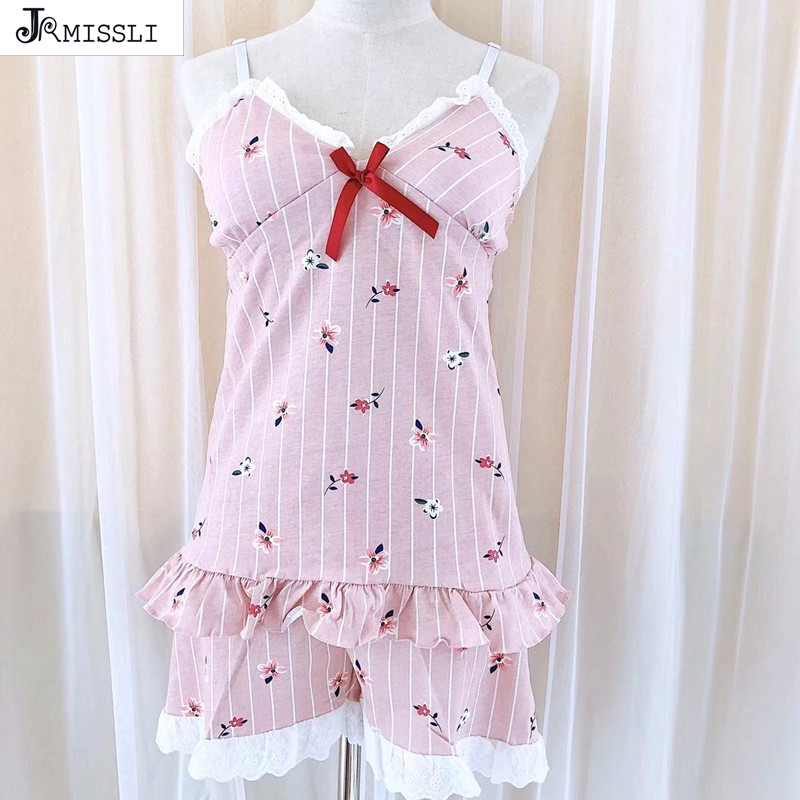 JRMISSLI Lace Cotton Sleepwear Women Pajama Sets Women Print Sleeveless V- Neck Pink Pajama Set Home Clothing