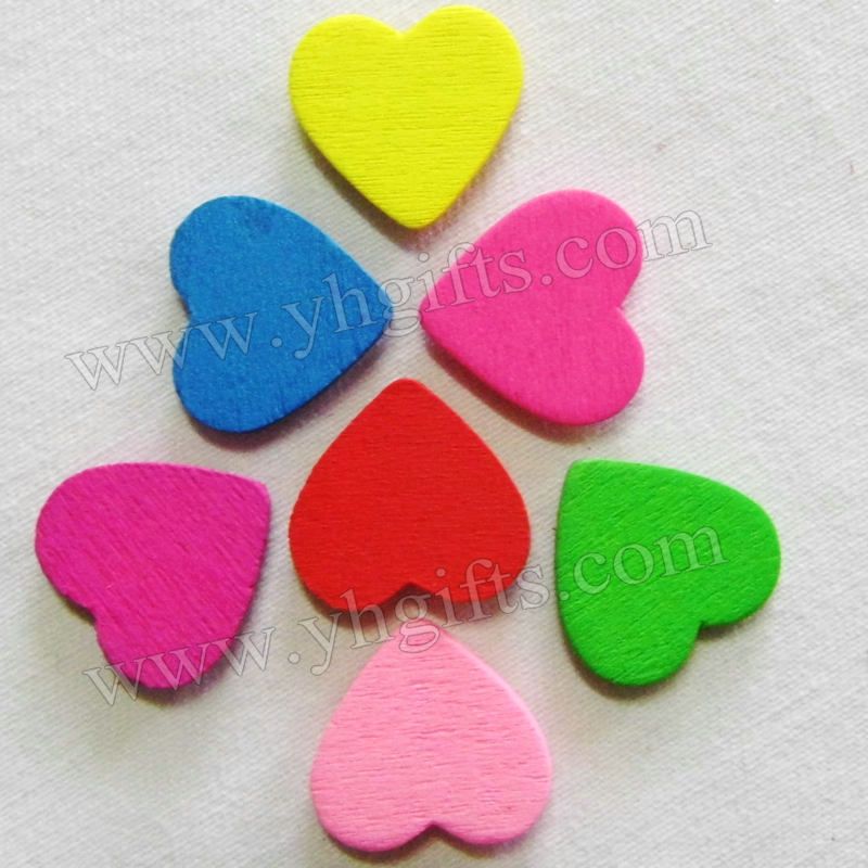 100PCS/LOT.Wood heart stickers,Kids toys,scrapbooking kit,Early educational DIY.Kindergarten crafts.Classic toys.Wholesale.1.8cm