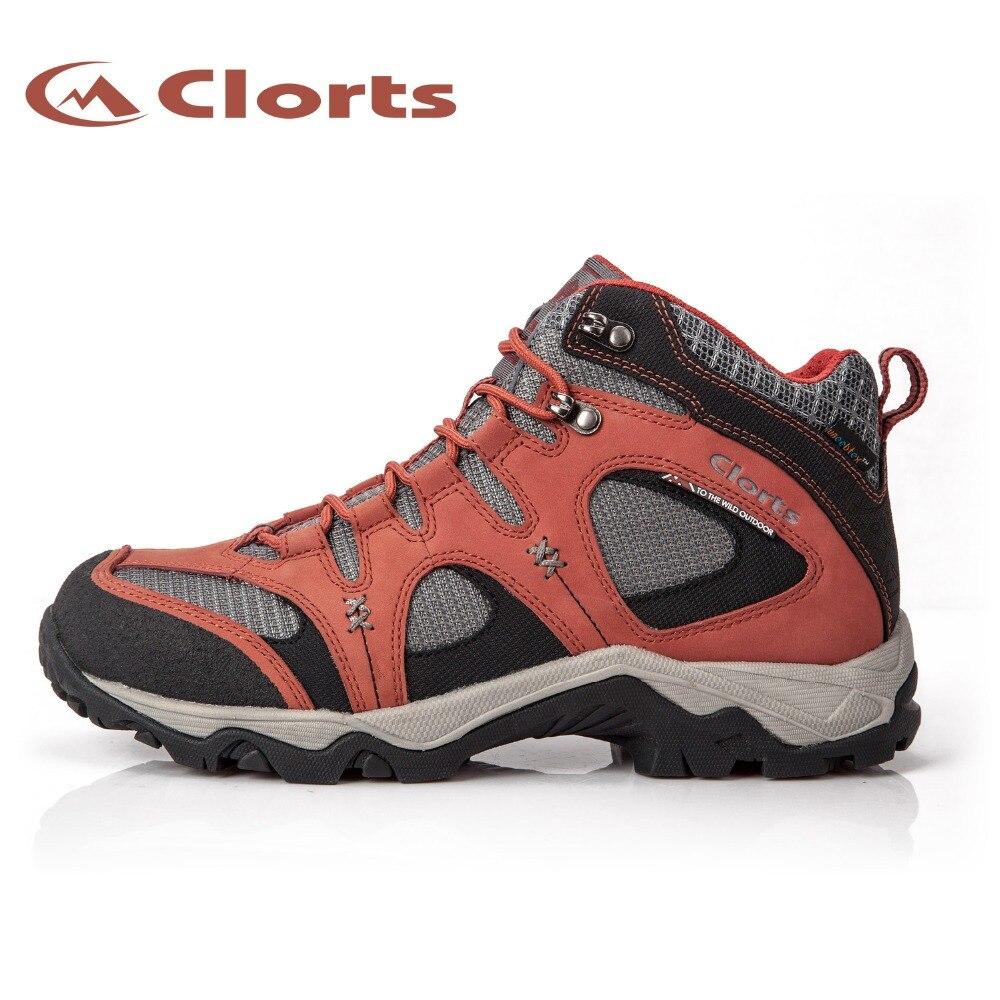 Clorts Véritable En Cuir Mid-cut Randonnée Bottes pour Hommes Femmes Étanche Montagne Escalade Chaussures HKM-820