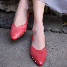 Artmu Original Rivet Flat Sole Women Shoes Genuine Leather Pointed Toe Soft Spring New Handmade Flats 7393-3
