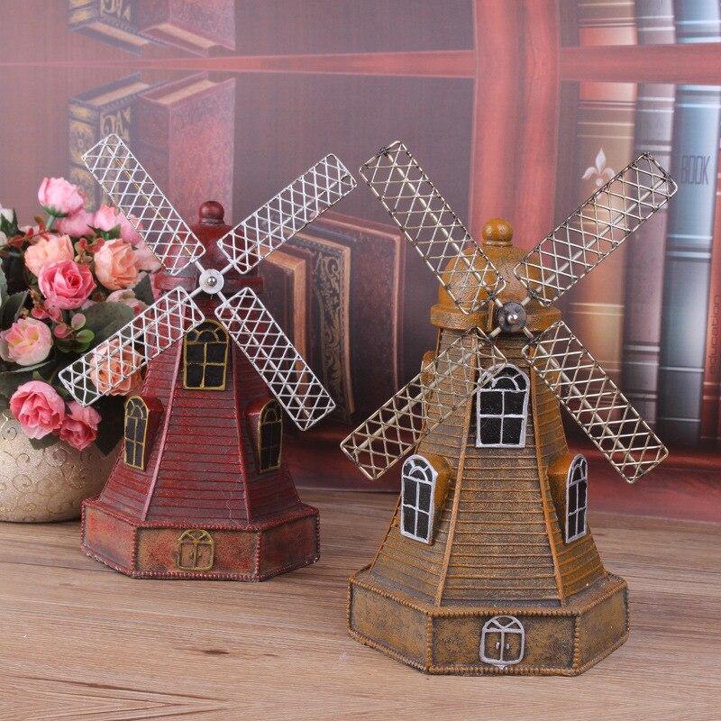 Vintage Dutch Windmill Building Decor Metal Craft Retro Antique Bronze Dutch Windmill Model Home Decoration Creative Gifts